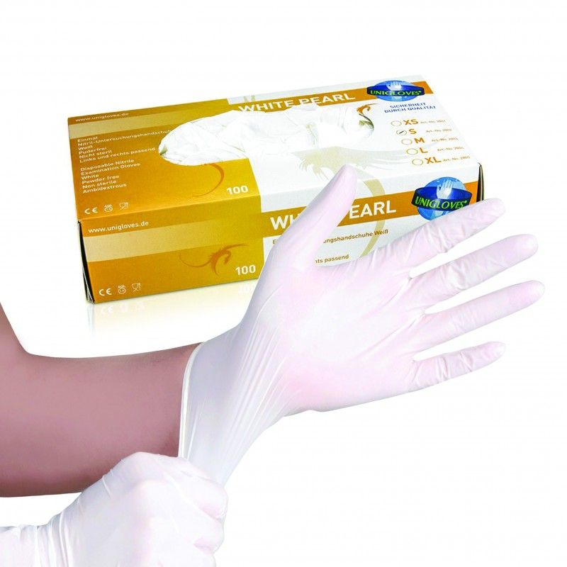 White Pearl Nitrile Gloves (XS - S -M)