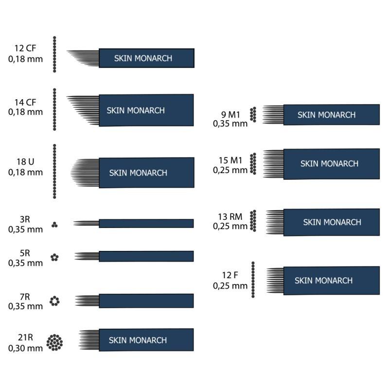 Skin Monarch Microblading needles 12-14CF / 18U / 3-5-7-2R / 9-15M1 / 13RM / 12F (30 pcs.)