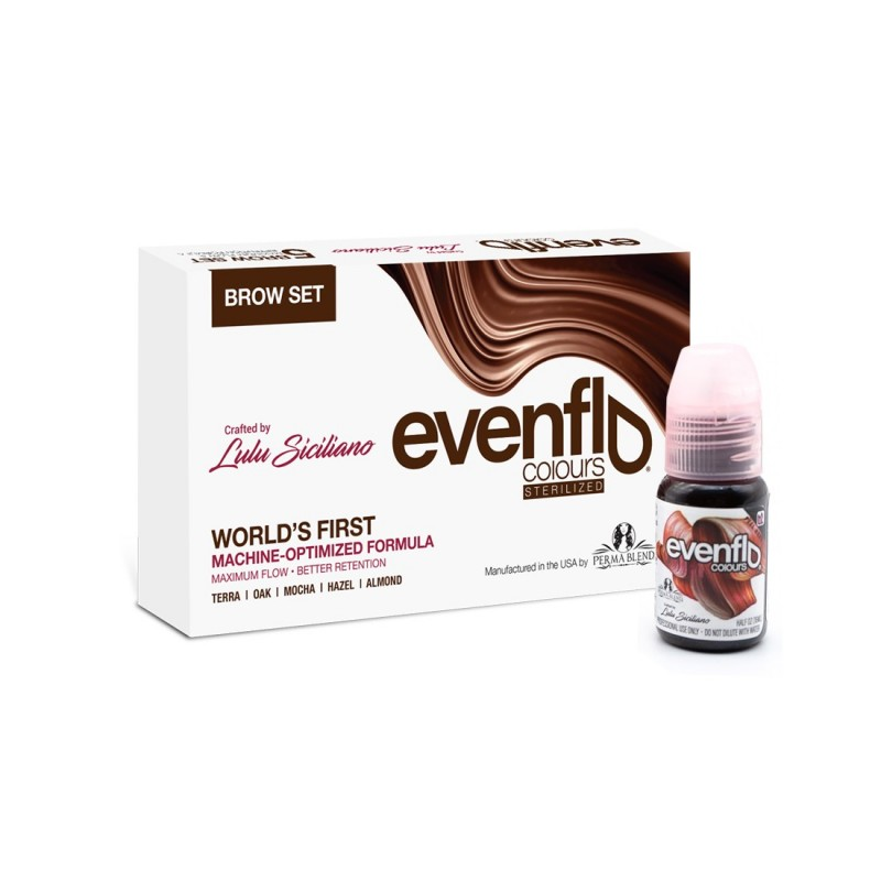 Perma Blend Evenflo brow pigments set 15 ml. (5 vnt.)