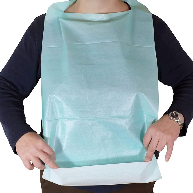 UNIGLOVES disposable Bibs with collecting blue PE pocket (50pcs)