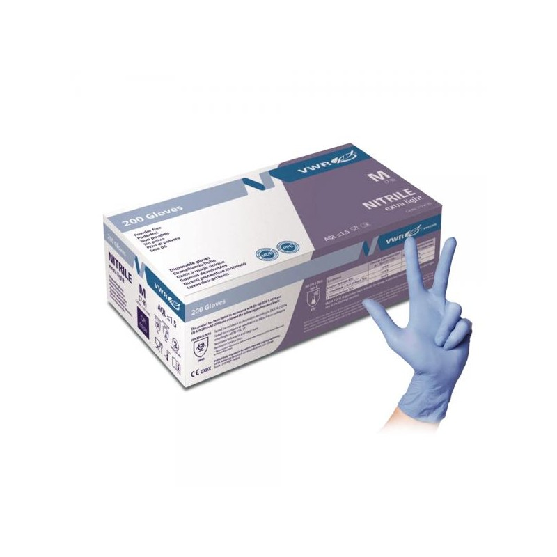 VWR Nitrile Extra Light Disposable Gloves 200pcs (Size M)