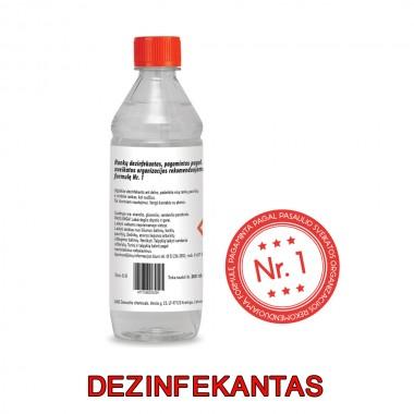 Hand disinfectant produced according to the World Health Organizations recommended formula no. 1 ( 0,5 l.)